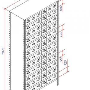 Estante de aço com 72 gavetas